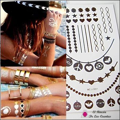 Tattoomanía. Tattoos temporales metálicos. Otra forma de lucir bisutería de manera original y sorprendente. www.elrincondelascuentas.com