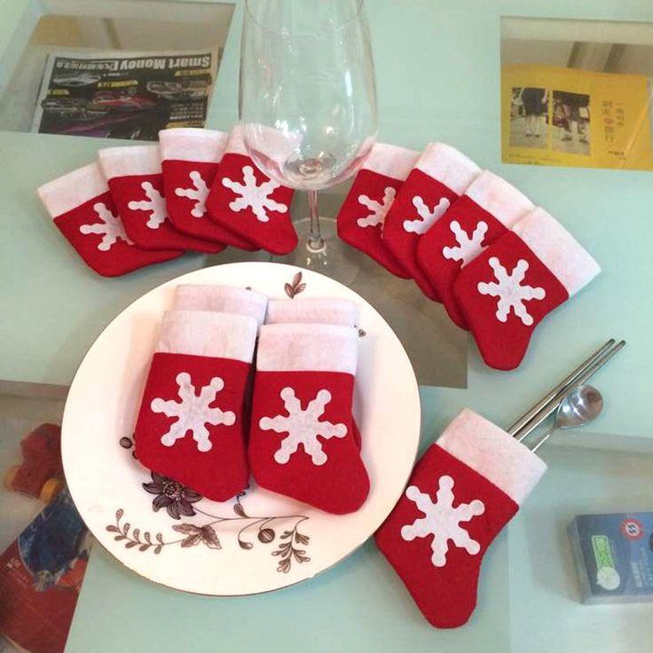 12 Pièces/ensemble Mini Bas De Noël Vaisselle Couvrir arbre De Noël décorations De Noël Décorations Festival Parti Ornement