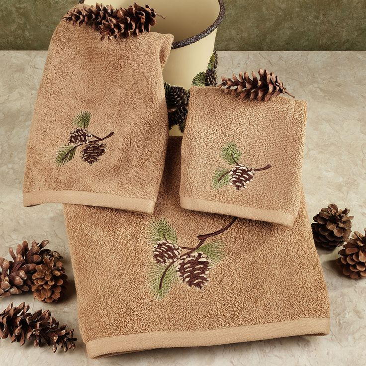 Pinehaven Rustic Pine Cone Bath Towel Set Touch Of Class