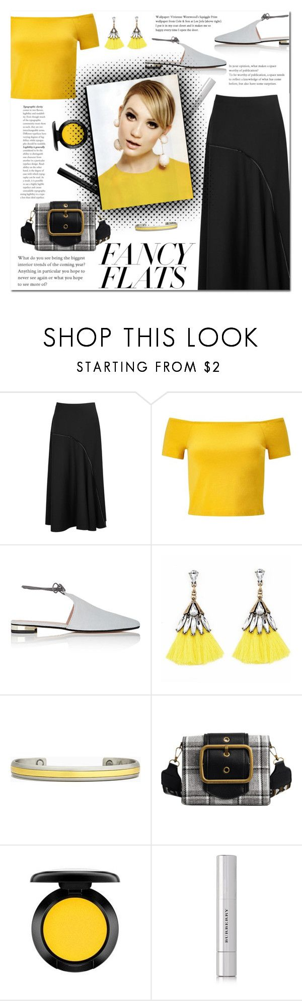 """""""How to wear an Asymmetrical Midi Skirt!"""" by disco-mermaid ❤ liked on Polyvore featuring The Row, Miss Selfridge, Barneys New York, Sergio Lub, MAC Cosmetics, Burberry and Forever 21"""