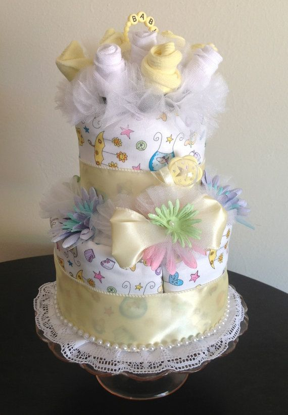 Baby Sock Bouquet Burp Cloth Cake 2Tier by JustBabyBoutique, $50.00