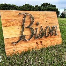 Reclaimed NDSU Bison Wood nail string art Grain Designs Fargo