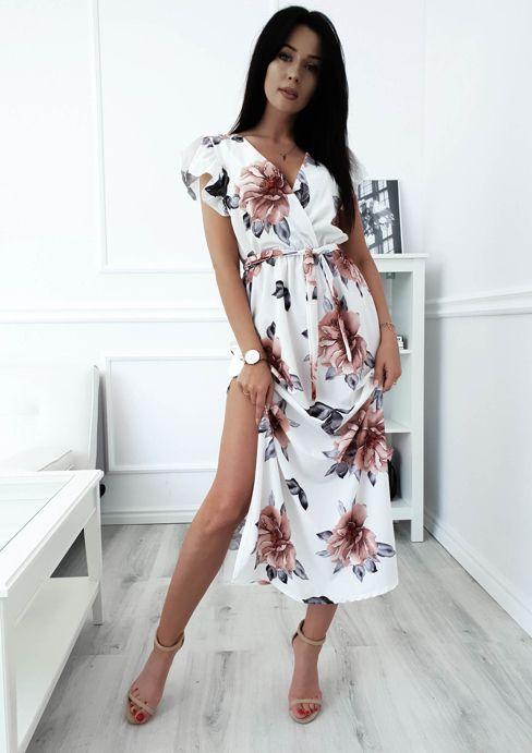 Sukienka Maxi Calisa Ecru W Kwiaty Ecru W Kwiaty Nowosci Kategorie Sukienki Kategor Maxi Dress With Sleeves Short Sleeve Maxi Dresses Floral Dresses Long