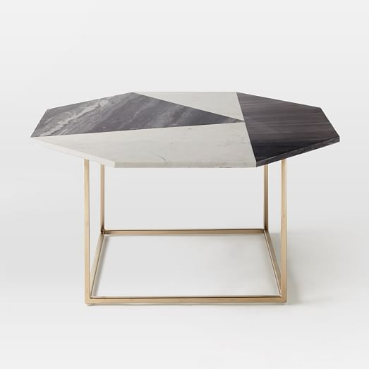 Marquetry Marble Coffee Table  Marble / Light Bronze   Westelm.com