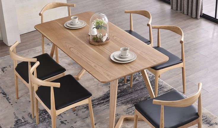 Nordic wood tables 6 person dinette table and four chairs combination ikea desk designer model - Table couture ikea ...