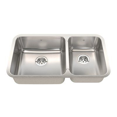 Kindred QCUA1933 Steel Queen Undermount 32.88 In Double Offset Kitchen Sink