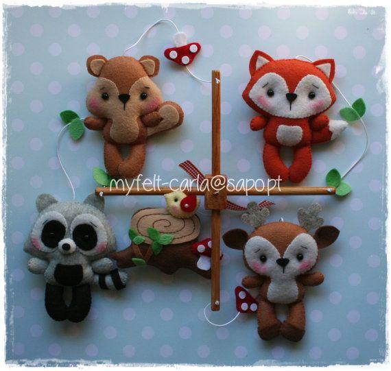 Mobile animaux de la forêt, Berceau Mobile pour Berceaux, Coffret Cadeaux Naissance : Jeux, peluches, doudous par myfelt-carla