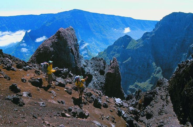 Hiking in the Cirque de Mafate (caldera only accessible by foot and helicopter) - Ile de La Reunion