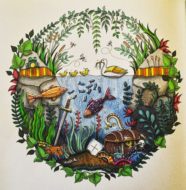 Aquarium Enchanted Forest Aquario Floresta Encantada Johanna Basford Coloring BookEnchanted