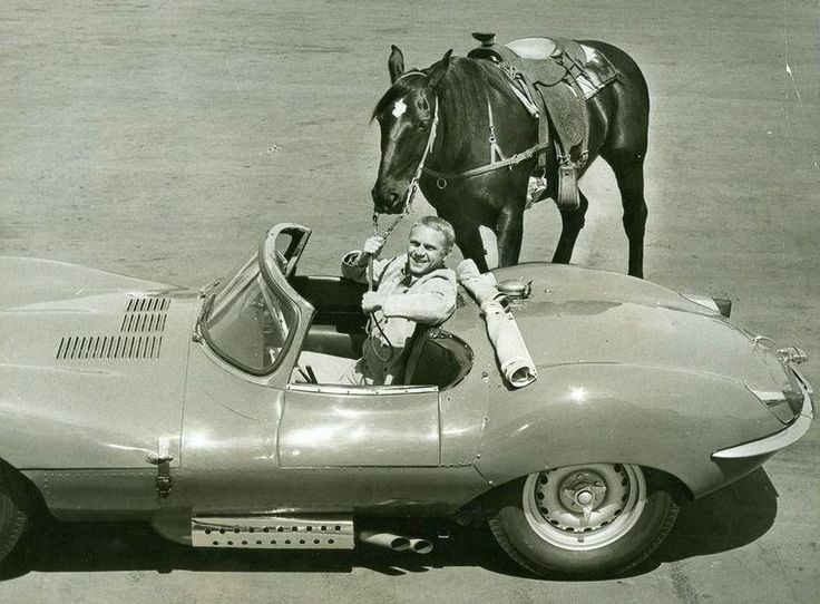 Steve McQueen 1960 - Steve McQueen with two forms of transportation: his horse, Doc, and his Jaguar XKSS - Wikipedia, the free encyclopedia