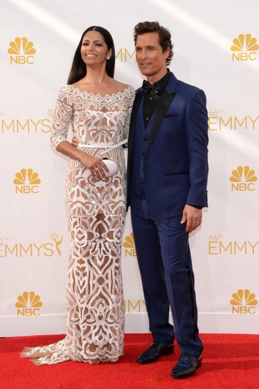 Matthew McConaughey in Dolce & Gabbana and wife Camila Alves in Zuhair Murad at the Emmys