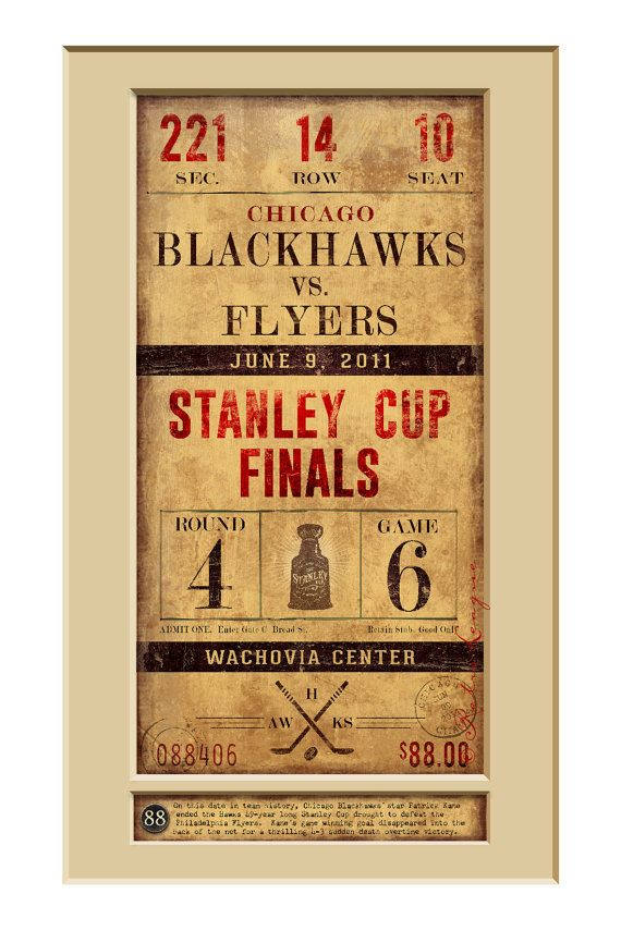 Relive the Chicago Blackhawks 2010 Stanley Cup Championship game with this vintage-style game ticket art print. Recapture the greatest moment when