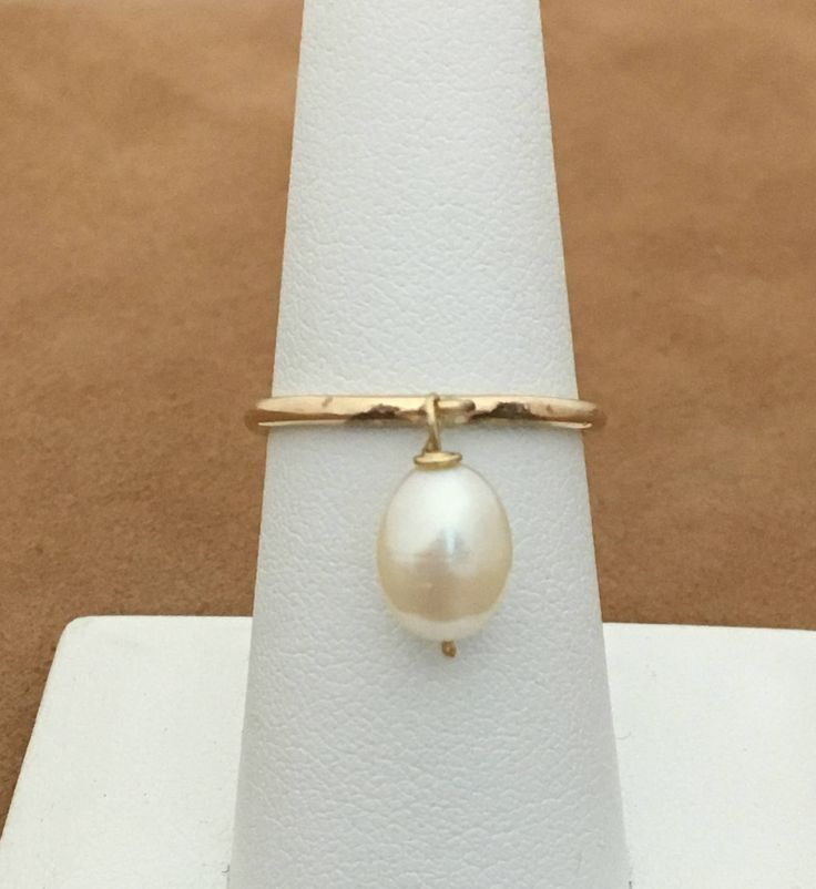 White Pearl Ring- Dangle Pearl Ring- Gold Pearl Ring- Stacking Gold Ring -Freshwater Pearl ring-Gold filled ring -Wedding Jewelry
