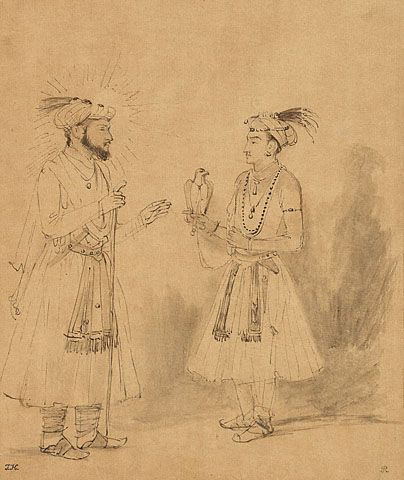 Rembrandt Harmensz. van Rijn, Shah Jahan and Dara Shikoh, 1654-1656, pen and brown ink and brown wash, heighted with white bodycolor on Japanese paper.  The J. Paul Getty Museum, Los Angeles