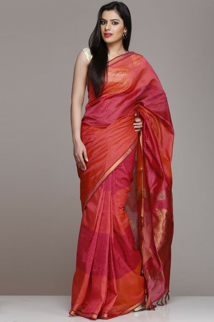 Onion Pink And Dark Peach Silk Cotton Saree With Gold Zari Lotus Motifs On Pallu And Thin Border Tomato pink