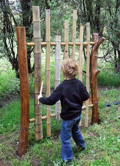 #DIY homemade musical instrument - outdoor Bamboo chime tower and lots of other outdoor music inspiration