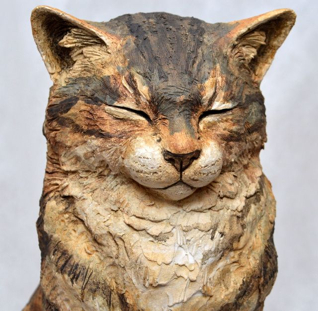 Karen Fawcett Studios ceramic cat