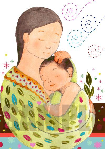 出産祝いの絵本「祝福の本」の原画。作画はイラストレーターの鈴木匠子さん。 http://www.kinende.com/shopdetail/028000000001/