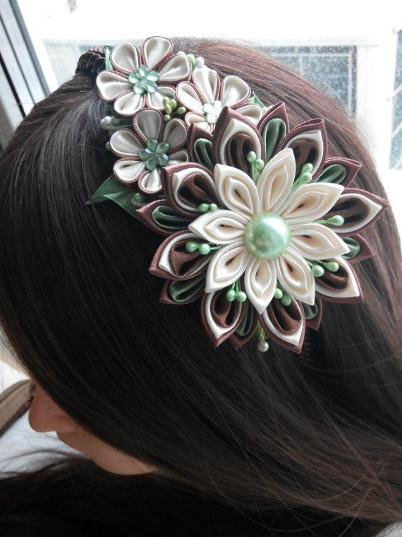 Kanzashi flower/Kanzashi headband/Fabric flower hairband/Flower head band/Head…