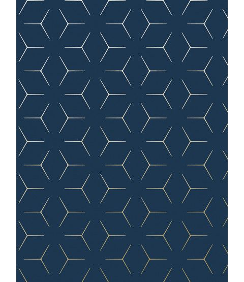 This Metro Illusion Geometric Wallpaper in Navy Blue and Gold features contemporary metallic elements and is part of the World of Wallpaper Metro Collection. Free UK delivery available.
