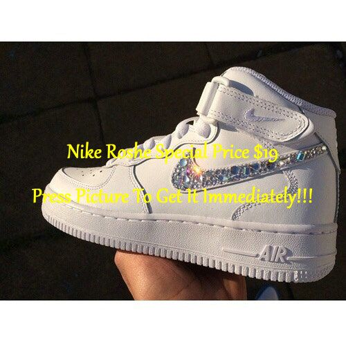 New Custom All White  BLING All Sizes Nike Air Force 1s High by KapeClothingCo on Etsy www.etsy.com/...