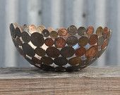 World coin bowl, medium 20 cm, metal bowl, metal sculpture, ornament