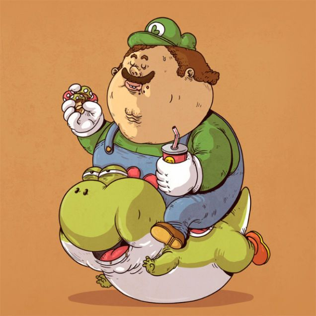 Food Trip!   Morbidly obese versions of iconic pop culture characters by Alex Solis