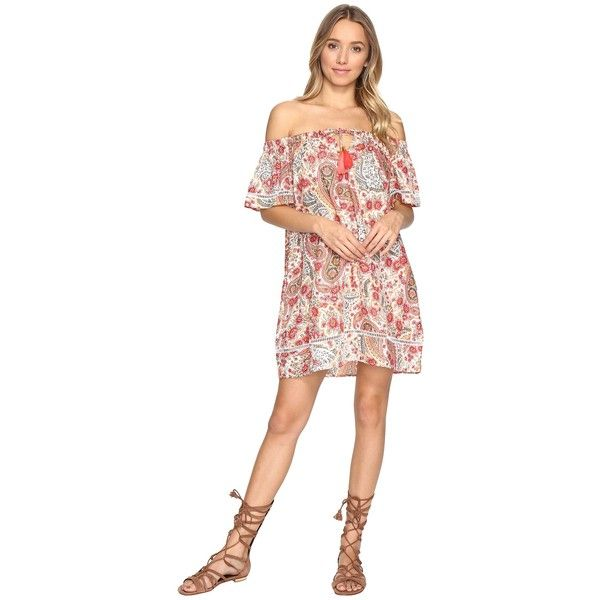 JETS by Jessika Allen Promises Off the Shoulder Dress Cover-Up (Desert... ($52) ❤ liked on Polyvore featuring swimwear, cover-ups, white, white cover up, white swimwear, paisley swimwear, white swim cover up and tassel cover up