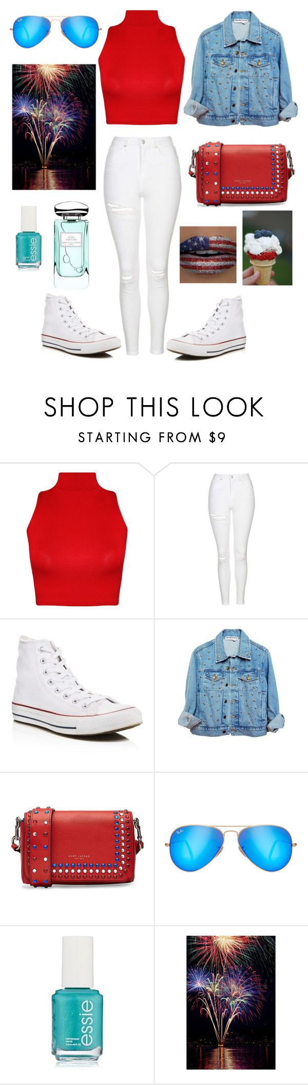 """""""4th of July barbecue outfit """" by girlonfleek8 ❤ liked on Polyvore featuring WearAll, Topshop, Converse, Marc Jacobs, Ray-Ban, Essie, By Terry, redwhiteandblue and july4th"""