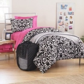 10pc Girl Black Pink White Damask Twin Xl College Dorm
