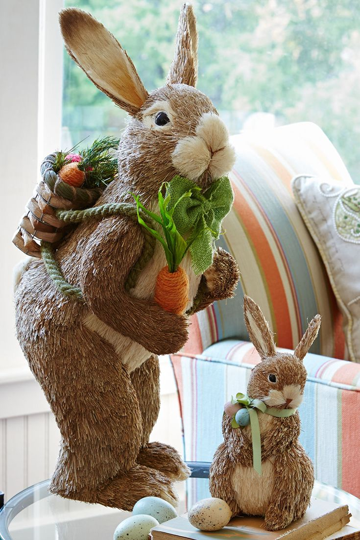Natural standing bunny easter decor home decor ideas for Rabbit decorations home