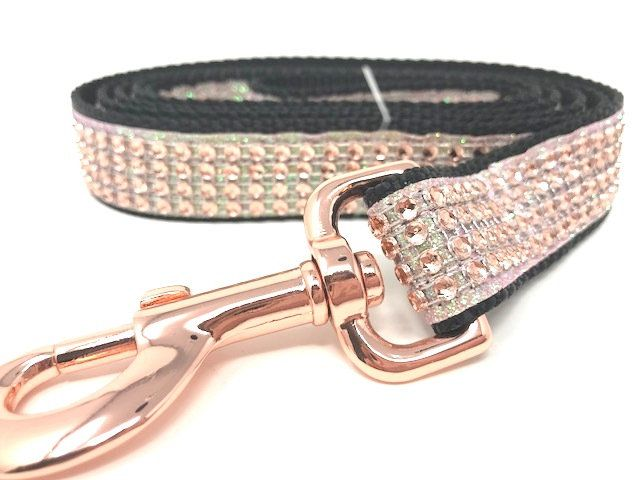 Females Rose Gold Pink Blingy Personalized Custom Sparkly Engraved Dog Collar Glitter Dog Collar Black Fancy Dog Collar For Girls