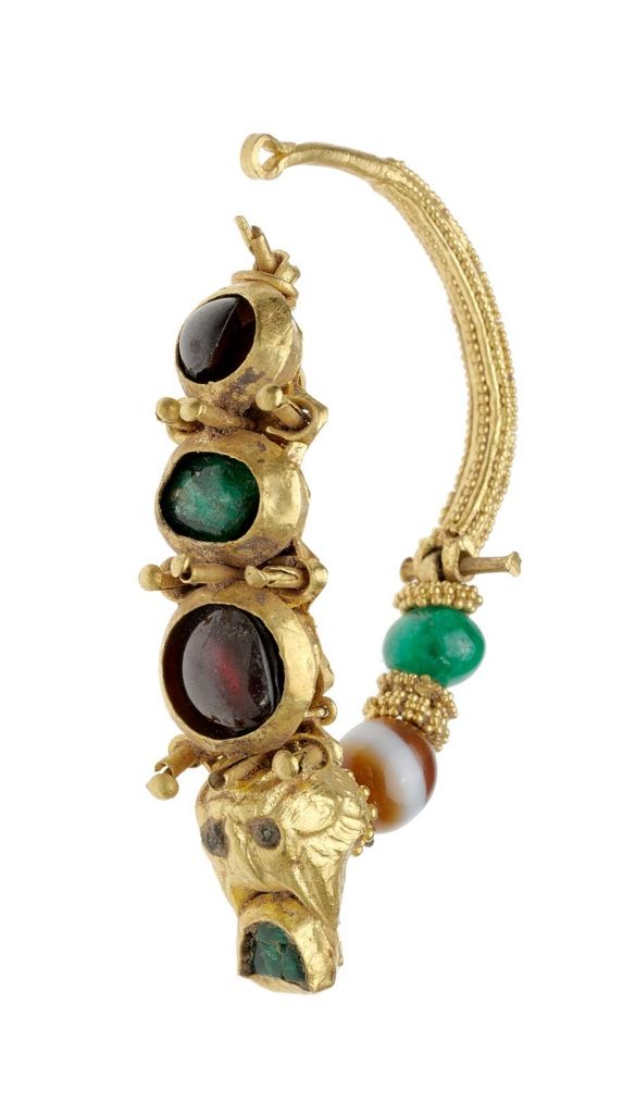 Hoop earring with lynx's head and colored stones Gold, garnet, agate and  emerald Greek
