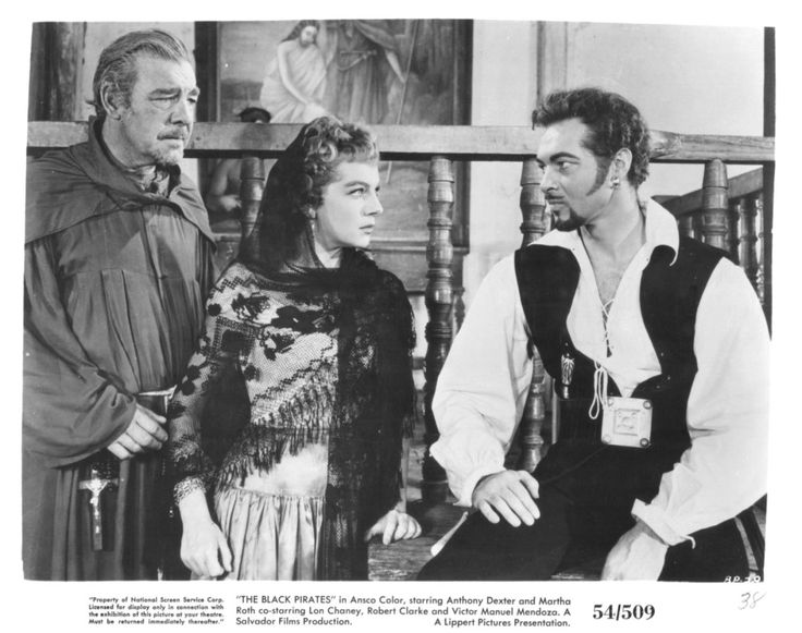 Lon Chaney, Jr., Martha Roth, and Anthony Dexter, The Black Pirates (1954)