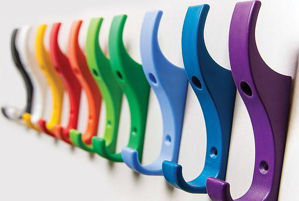 row of unbreakable plastic coat hooks in various colours 600px