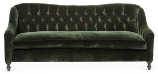 "Waverly 86"" Velvet Tufted Sofa, Forest"