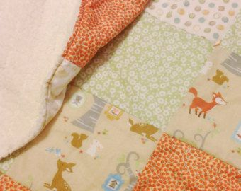 Woodland Animals Cuddle Fabric baby quilt or crib blanket