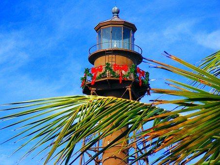 サニベル島, フロリダ州, 灯台, パーム, 空, 歴史, 自然, 外