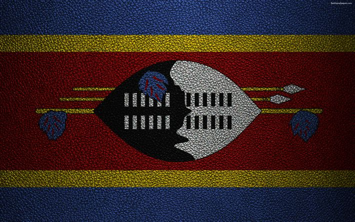 Download wallpapers Flag of Swaziland, Africa, 4K, leather texture, Swaziland flag, flags of Africa, Swaziland
