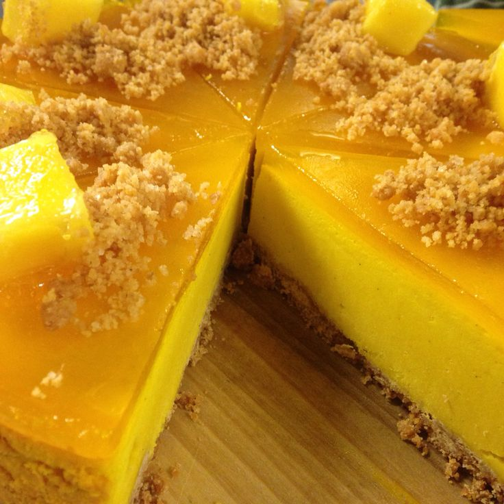 #mango #cheesecake #NYcheesecake #yellow #argirispapastavrou #chefpatissier #healthy #jelly   Baked New York cheesecake style with fresh mango and cream cheese topped with jelly of mango by chef patissier Argiris Papastavrou