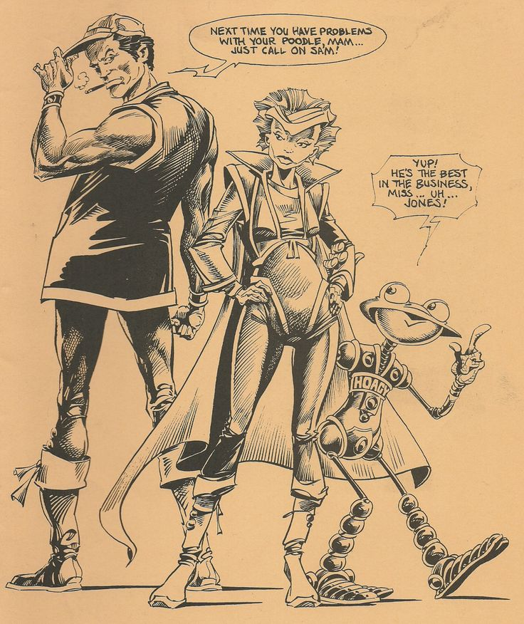 Ian Gibson depicts Robo-hunter, Halo Jones & Hoagy, all from the pages of 2000 AD, as originally appeared on the cover of 1985's Arken Sword #15.