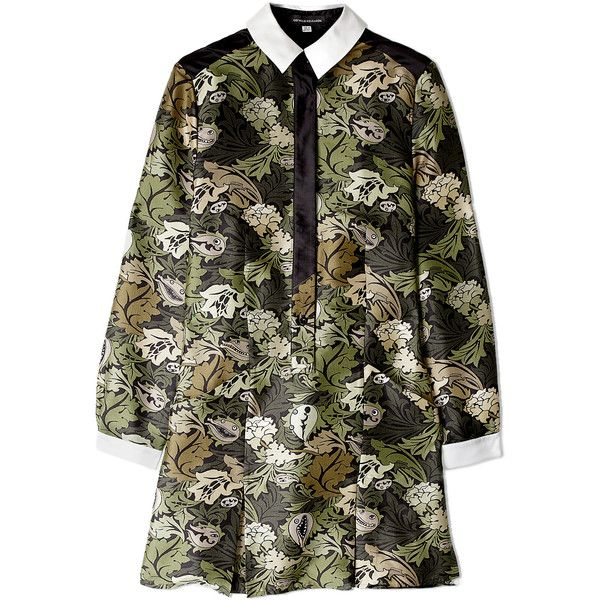 Ostwald Helgason Printed Silk Shirt Dress (2,955 MXN) ❤ liked on Polyvore featuring dresses, vestidos, long shirt dress, floral pleated dress, t-shirt dresses, silk floral dress and floral shirt dress
