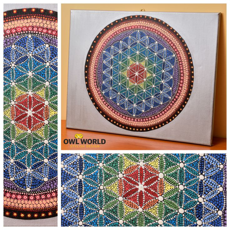 A mandala painted in dots, on a 50 cm x 40 cm canvas.  #owlworld #stylish #design
