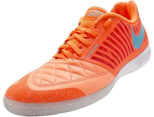 ... nike fc247 lunargato ii indoor soccer shoes atomic orange and blue. 573b3b918da