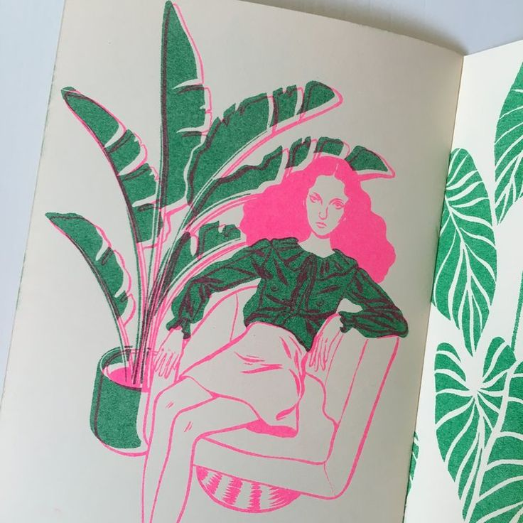 By Bijou Karman. 'Girls and Plants' Zine SOLD OUT risograph printed in neon pink and green by Tiny Splendor in Los Angeles, CA.