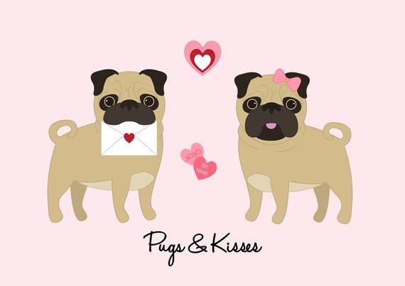 Pug Valentine S Day Card Pugs Kisses In 2020 Pug Valentine