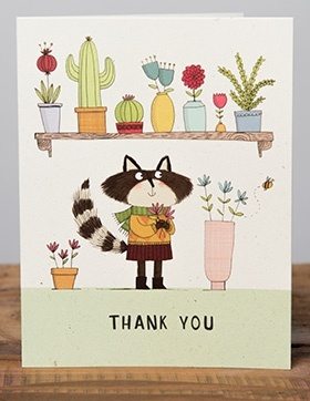 Raccoon Thanks | Red Cap Cards | Illustrated greeting card by Kate Hindley