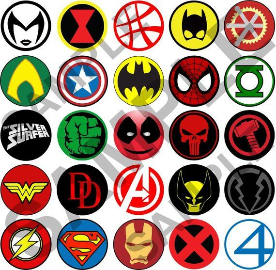 ODD SUPERMAN LOGOS Comic  Heros  NEW Set of 7 Select-a-Size of Pinback Buttons
