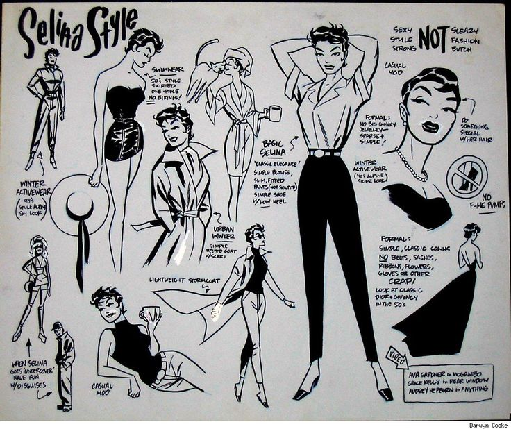 Darwyn Cooke is one my favorite comic artists. In 2002 he, along with writer Ed Brubaker, got to revitalize Catwoman for DC comics. This is the Selina Kyle (Catwoman's alter ego) style guide. I love the 50's look and I'm saddend that DC comics let it go so soon.