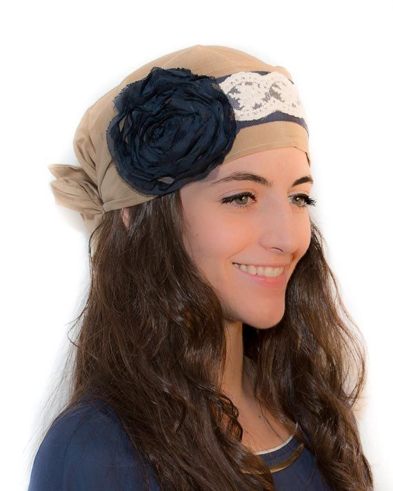 Items similar to Brown Camel Head Scarf Tichel Blue Flower Beige Lace Boho  Chemo Hat Headscarves Cancer Turbans Chemo Headwear cancer Patients Hair  Loss ...